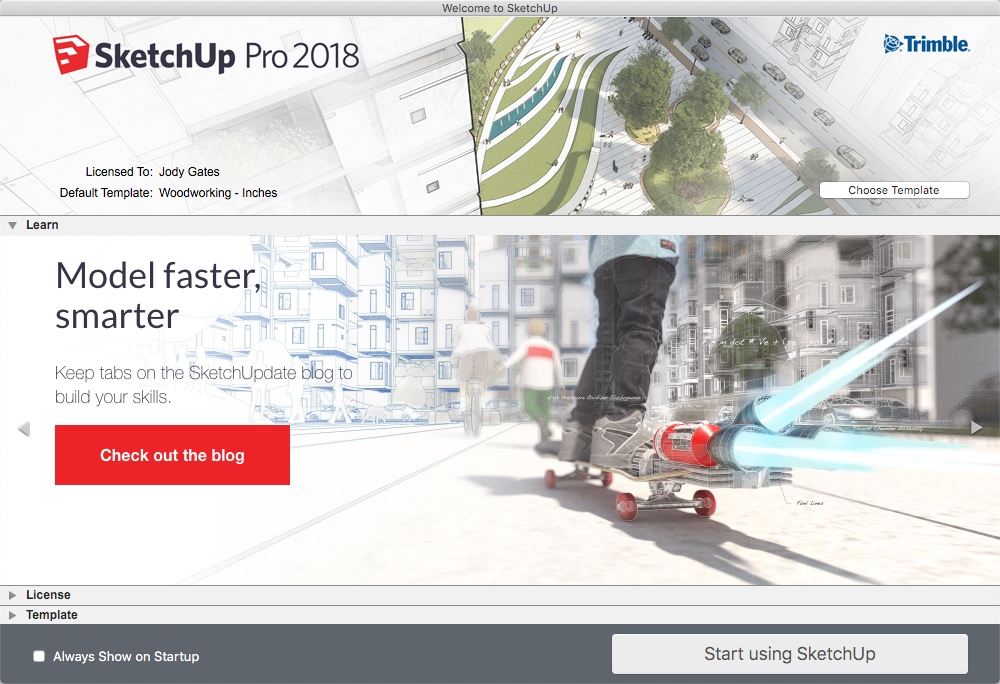 SketchUp 2018 welcome window